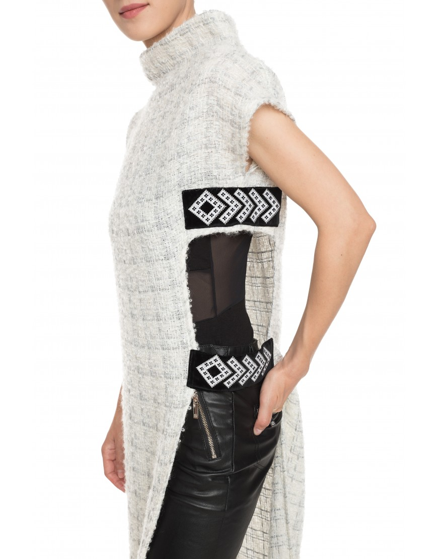 Arrows Silver Wool Jumper with Velvet Touch