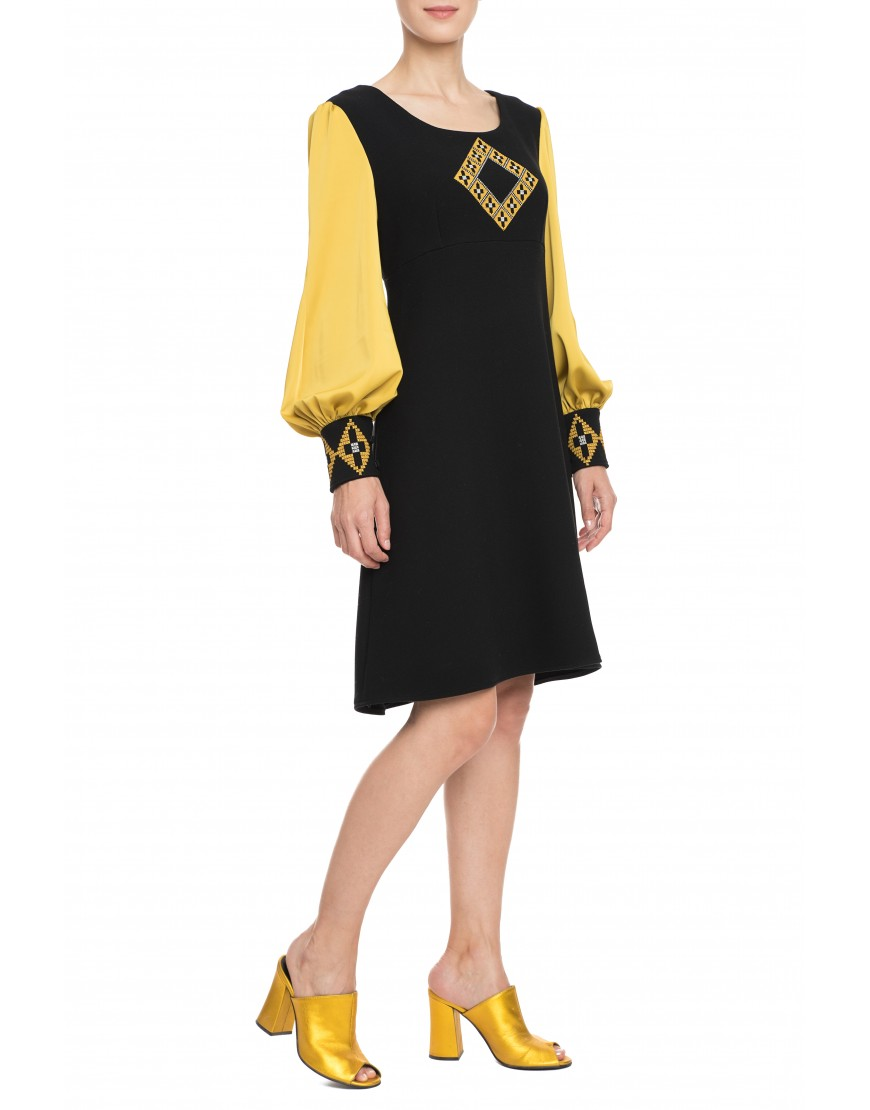 Origami Black Wool Dress with Silk Touch