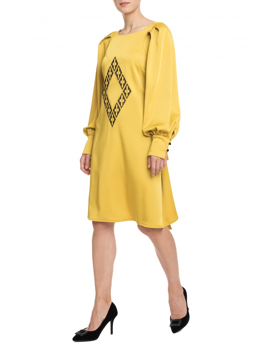 Origami Mustard Yellow Silk Dress