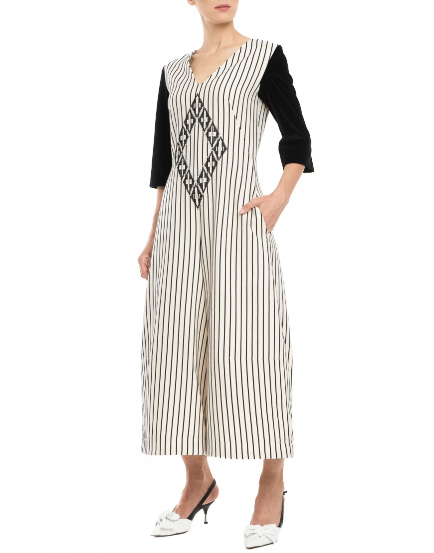 Origami Stripes Jumpsuit with Velvet Touch