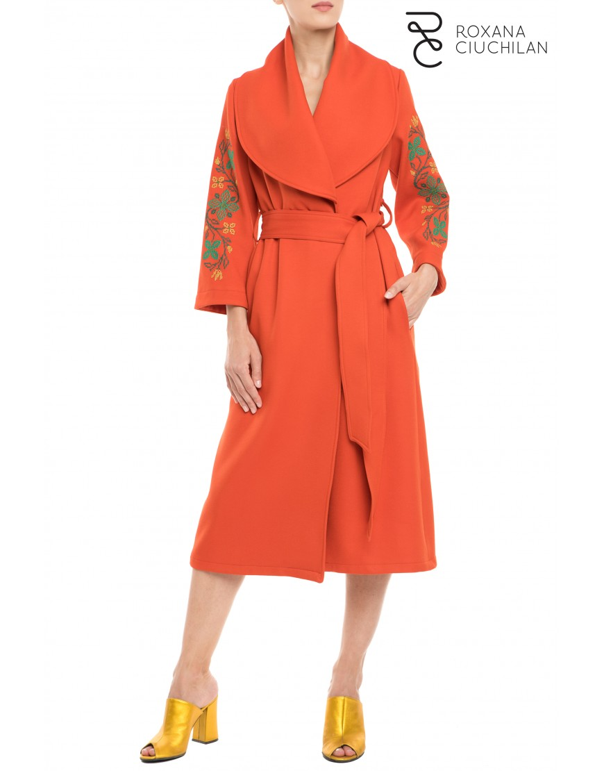 Flowers Orange Wool Coat