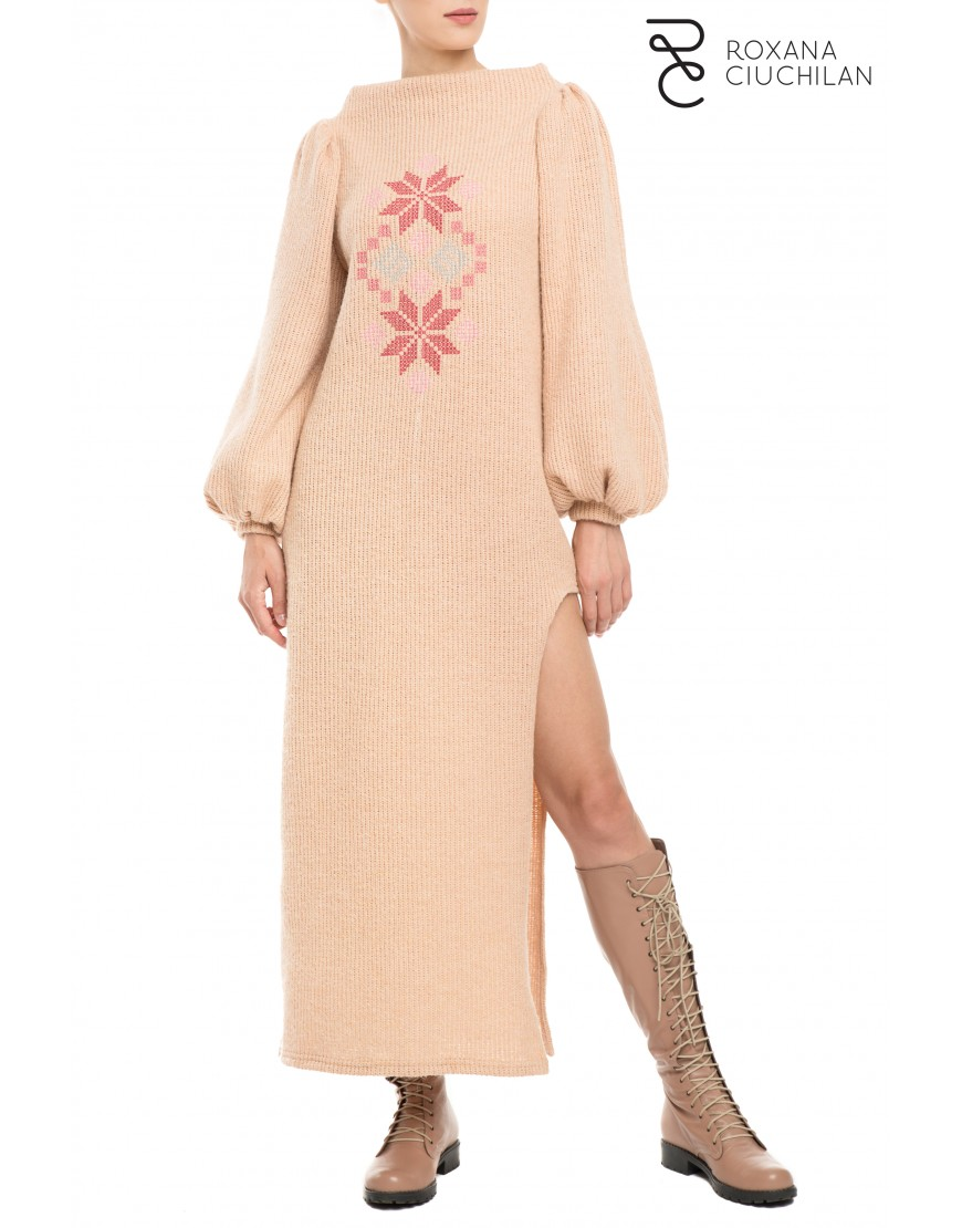 Rosales Beige-Pink Wool Dress