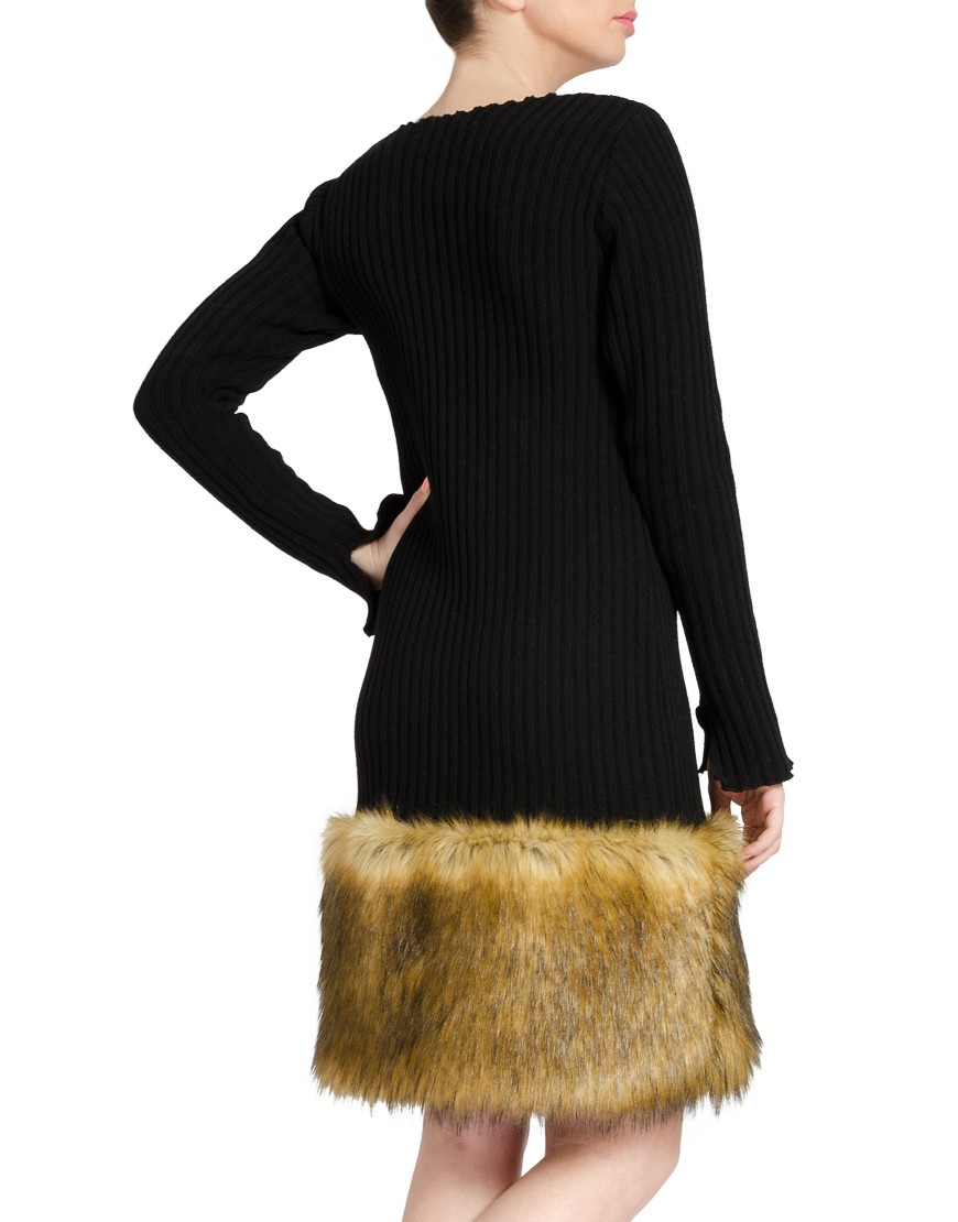 Knit Black Dress with Brown Fur