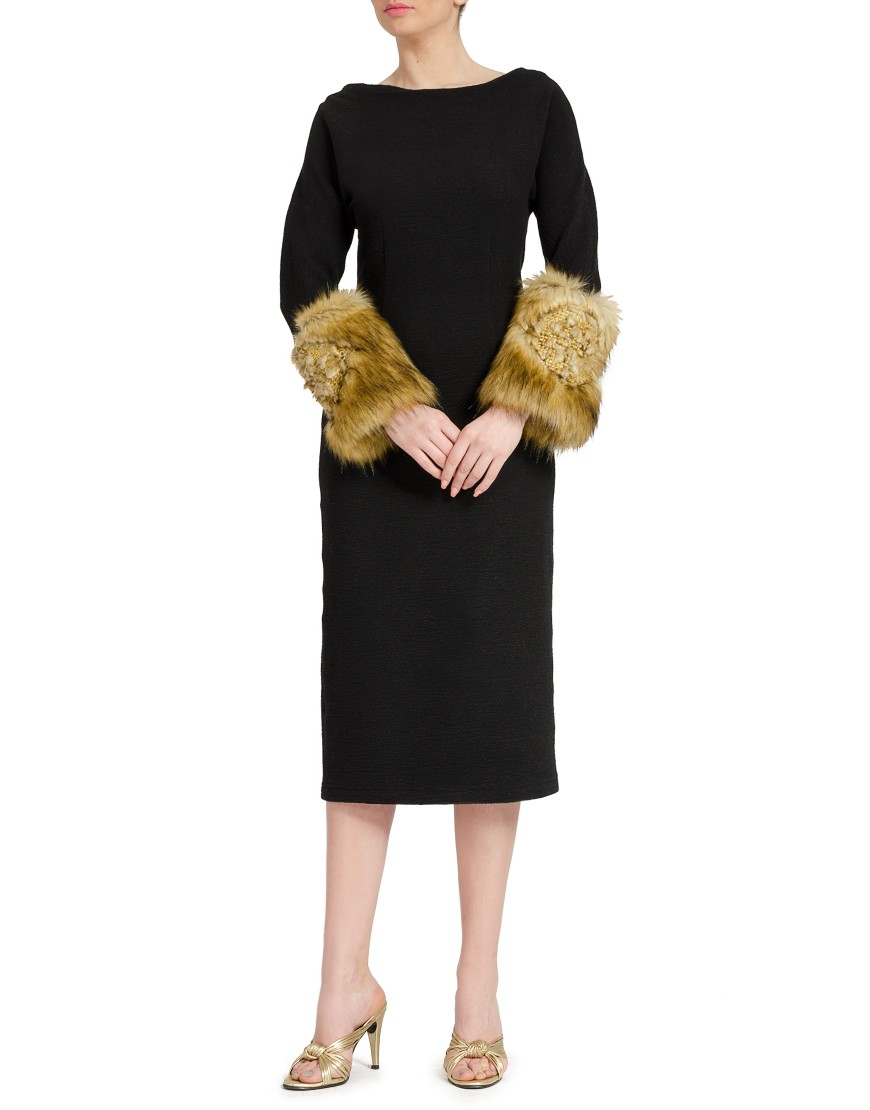 Wool Black Dress with Fur Sleeves