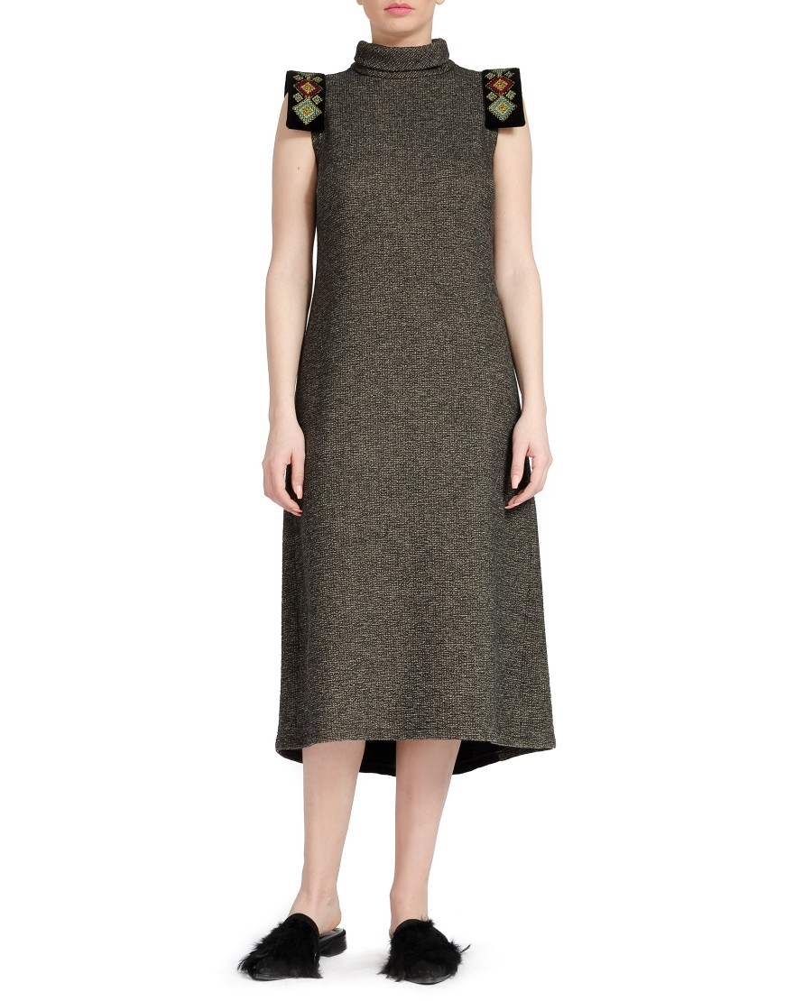 Stripes Wool Long Grey Dress